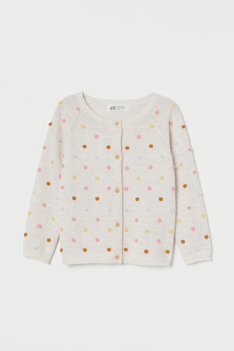 H & M - 紋理感針織開襟衫 - 白色