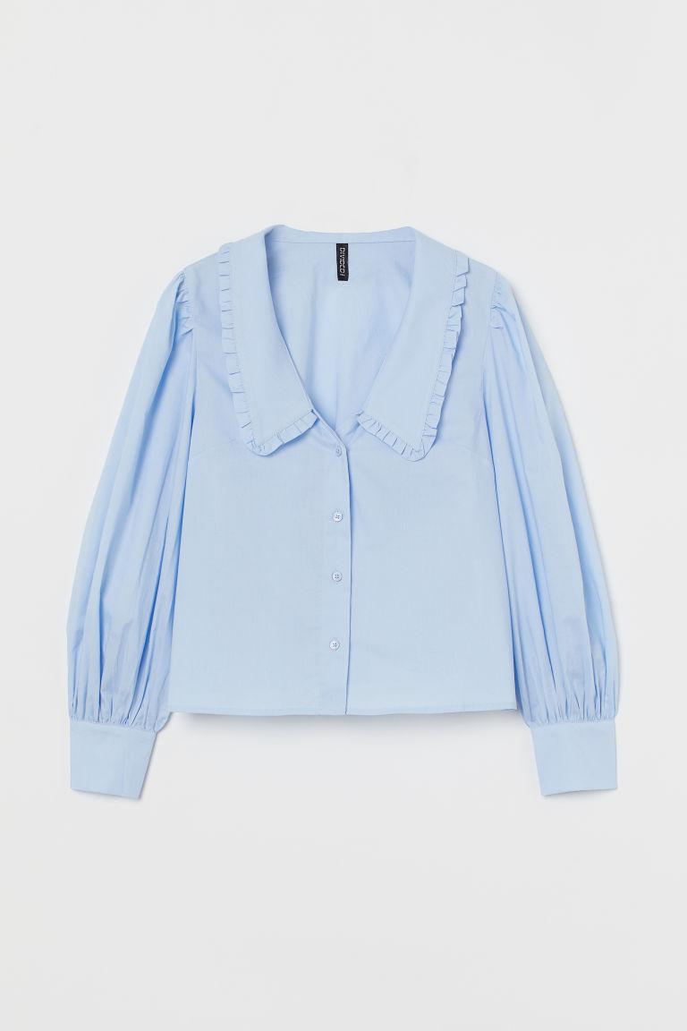 H & M - 荷葉領女衫 - 藍色