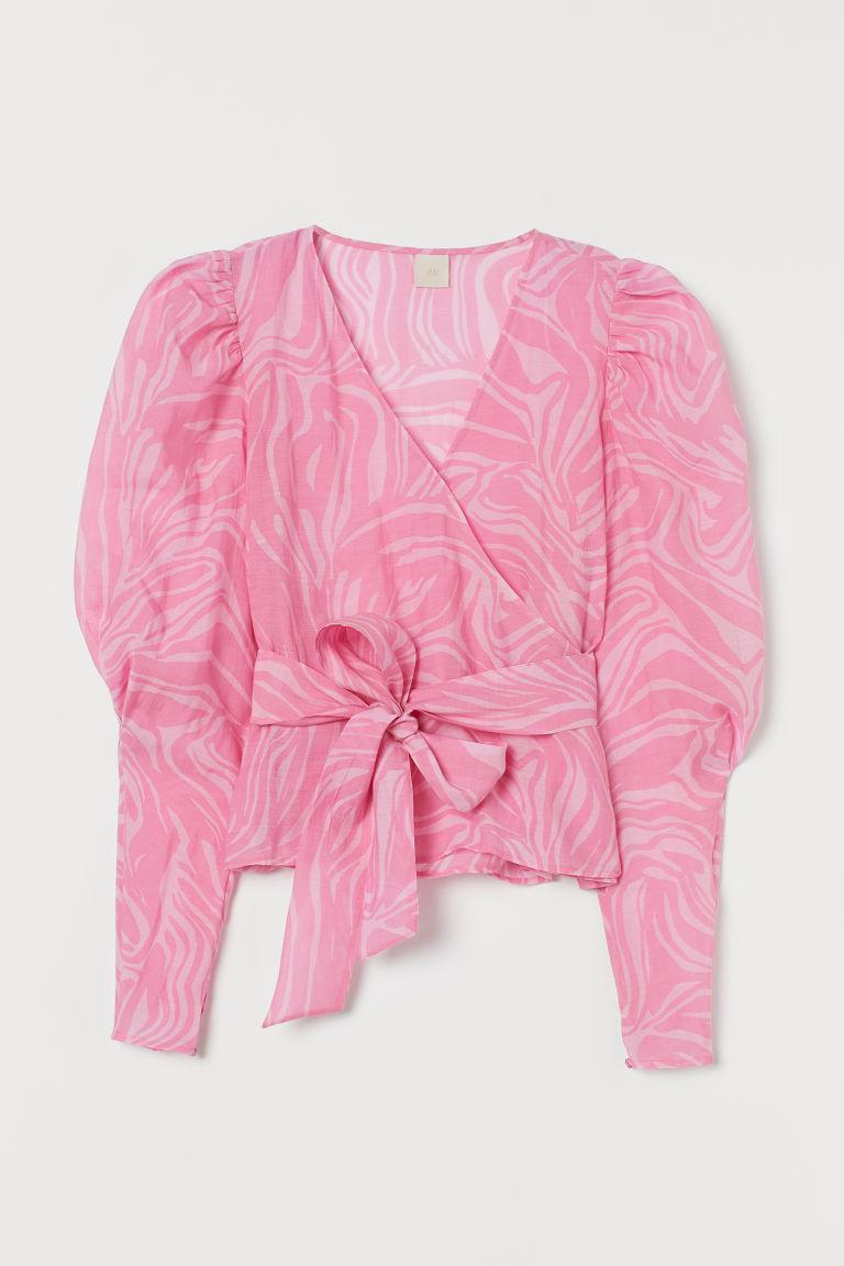 H & M - 公主袖交疊式女衫 - 粉紅色