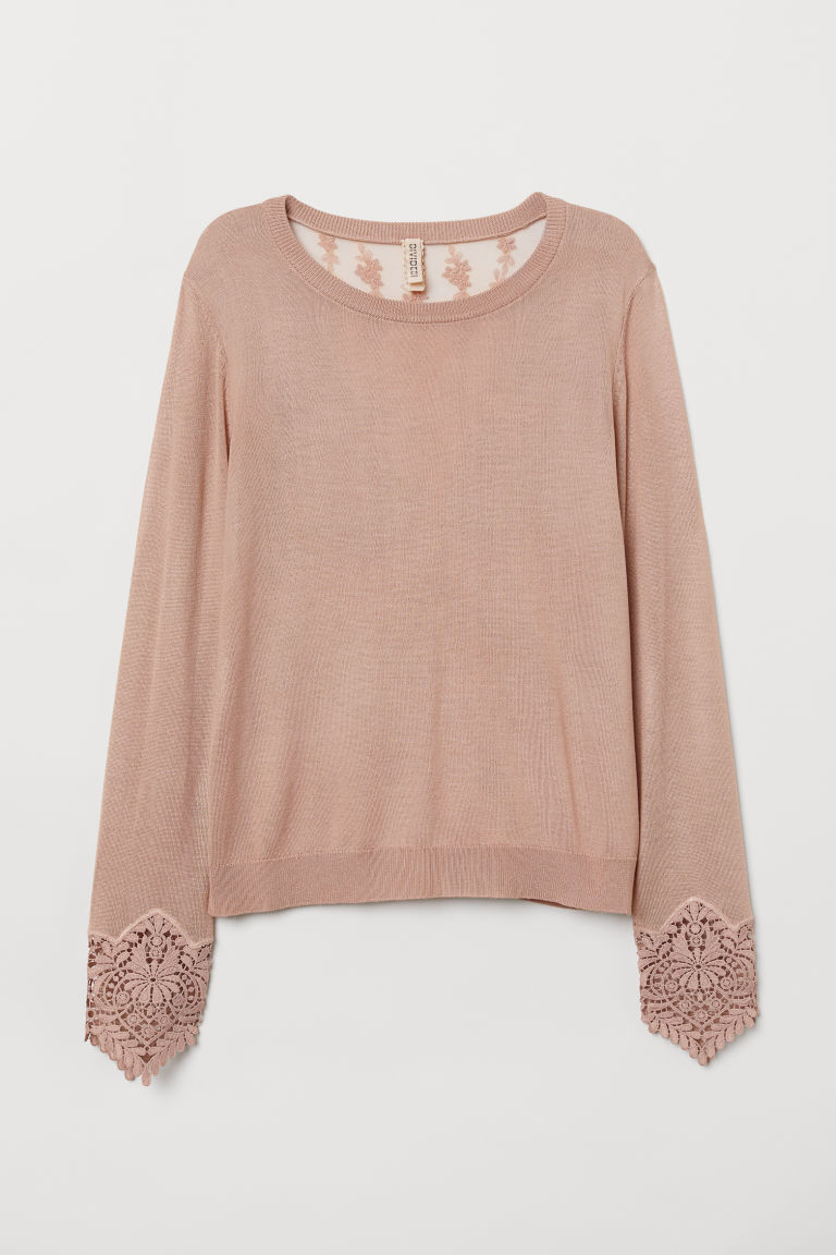 H & M - 蕾絲裝飾套衫 - 粉紅色