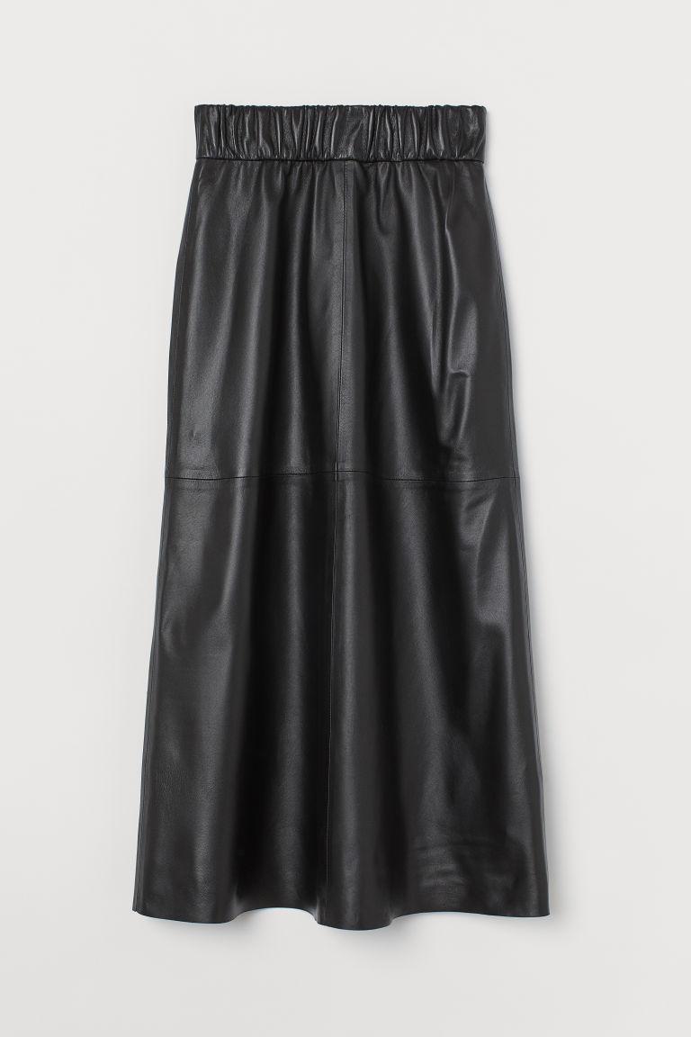 H & M - 真皮A字裙 - 黑色