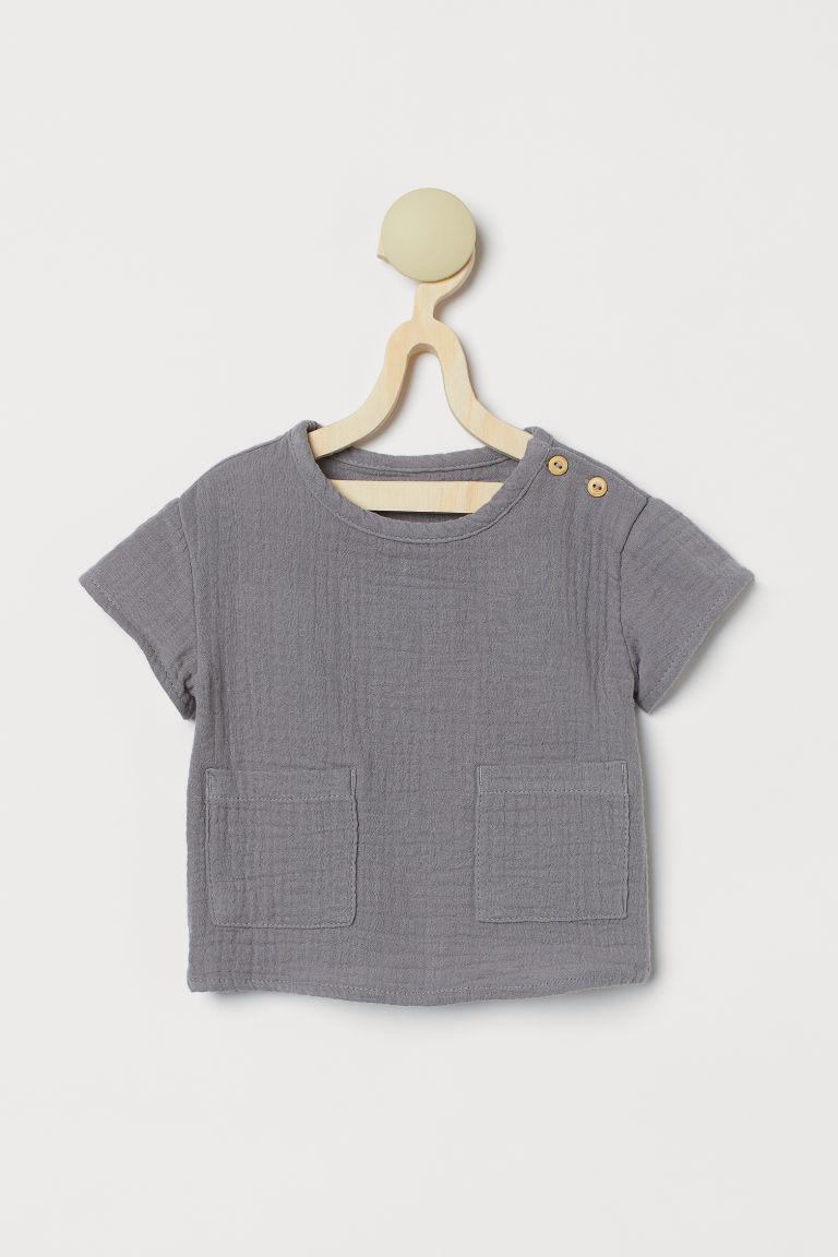 H & M - 二重織上衣 - 灰色