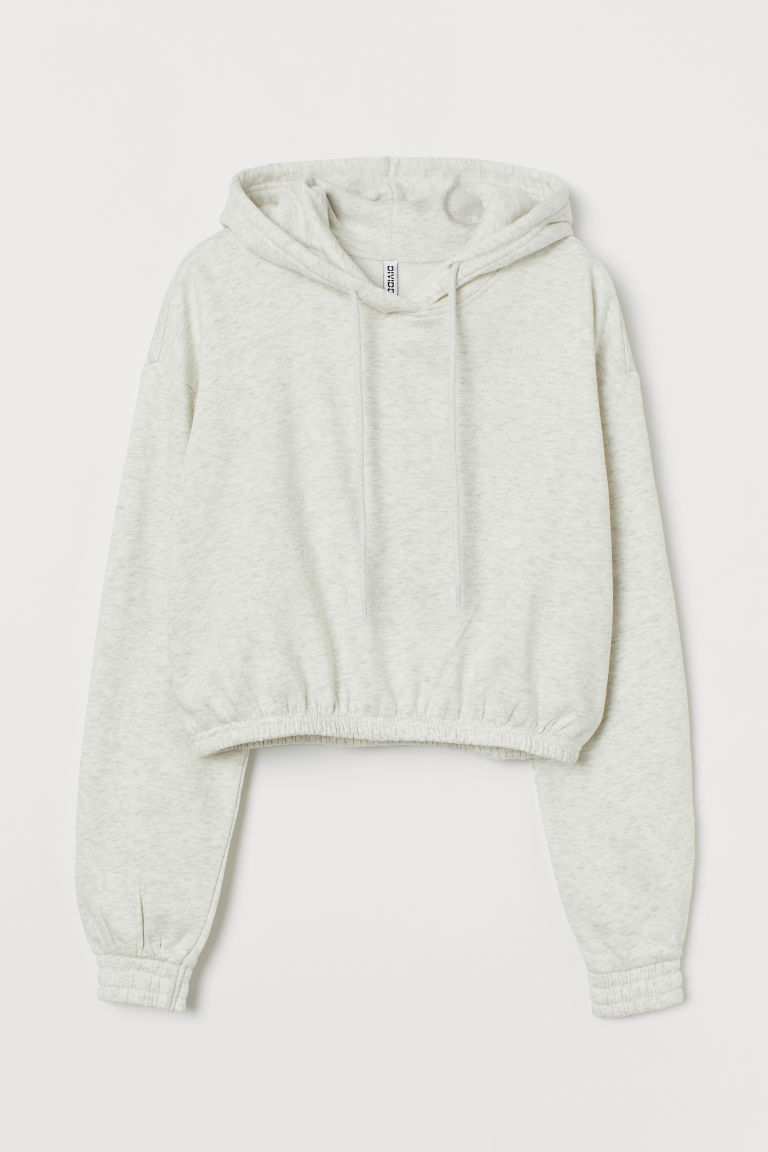 H & M - 短版連帽上衣 - 灰色