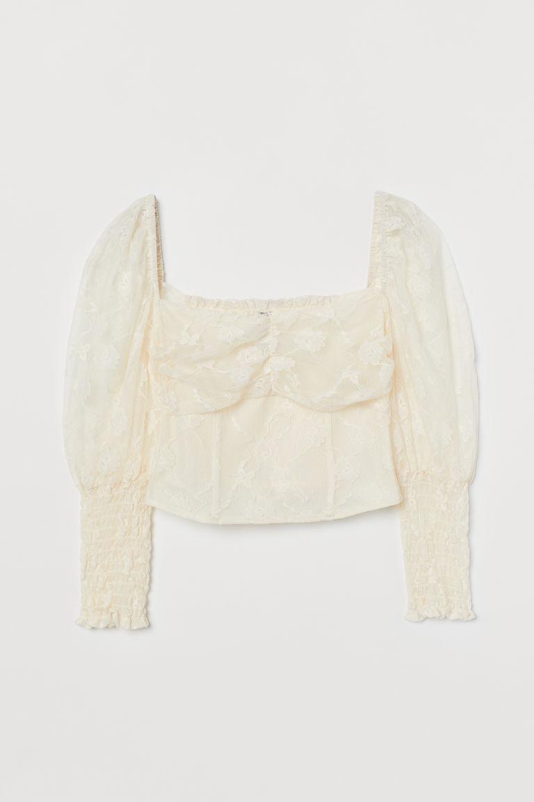 H & M - 公主袖女衫 - 白色