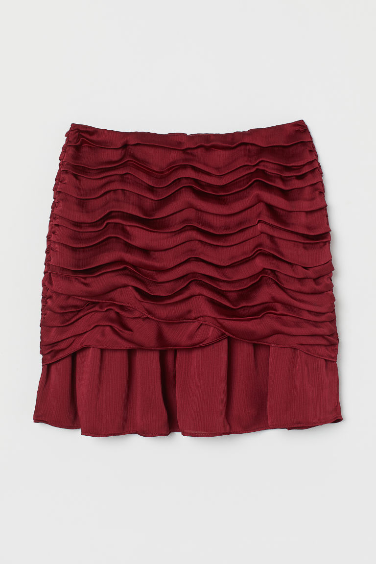 H & M - 垂墜感短裙 - 紅色