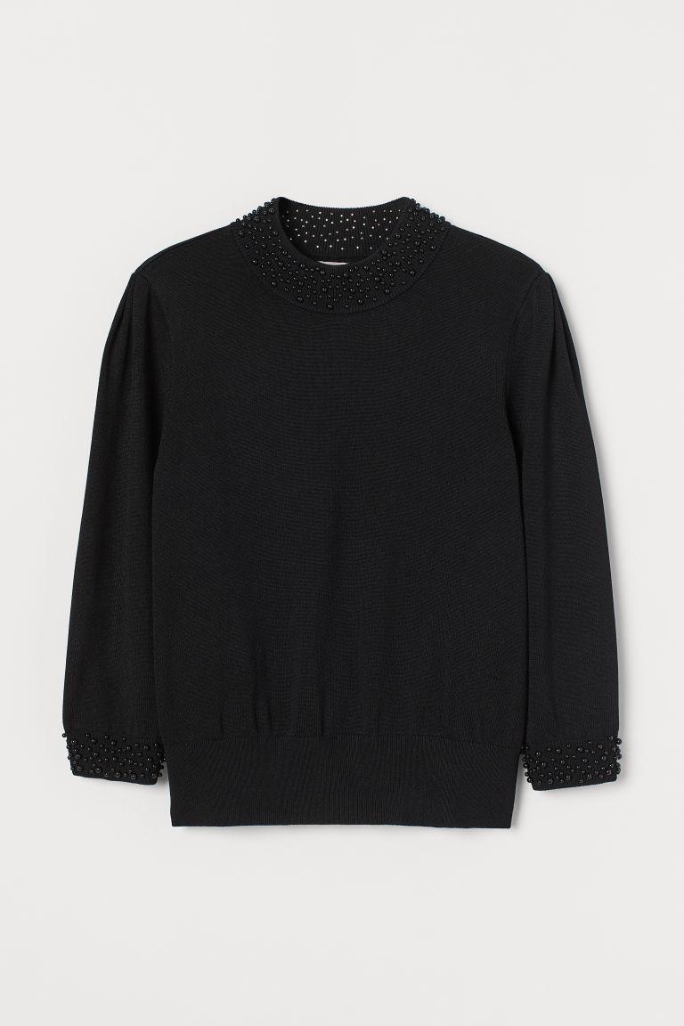 H & M - 珠飾套衫 - 黑色
