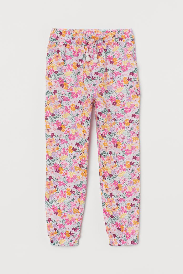 H & M - 平織慢跑褲 - 粉紅色