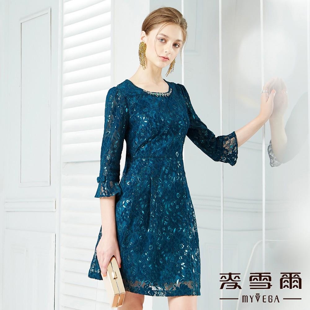 【麥雪爾】華麗感玫瑰蕾絲水鑽寶石領洋裝