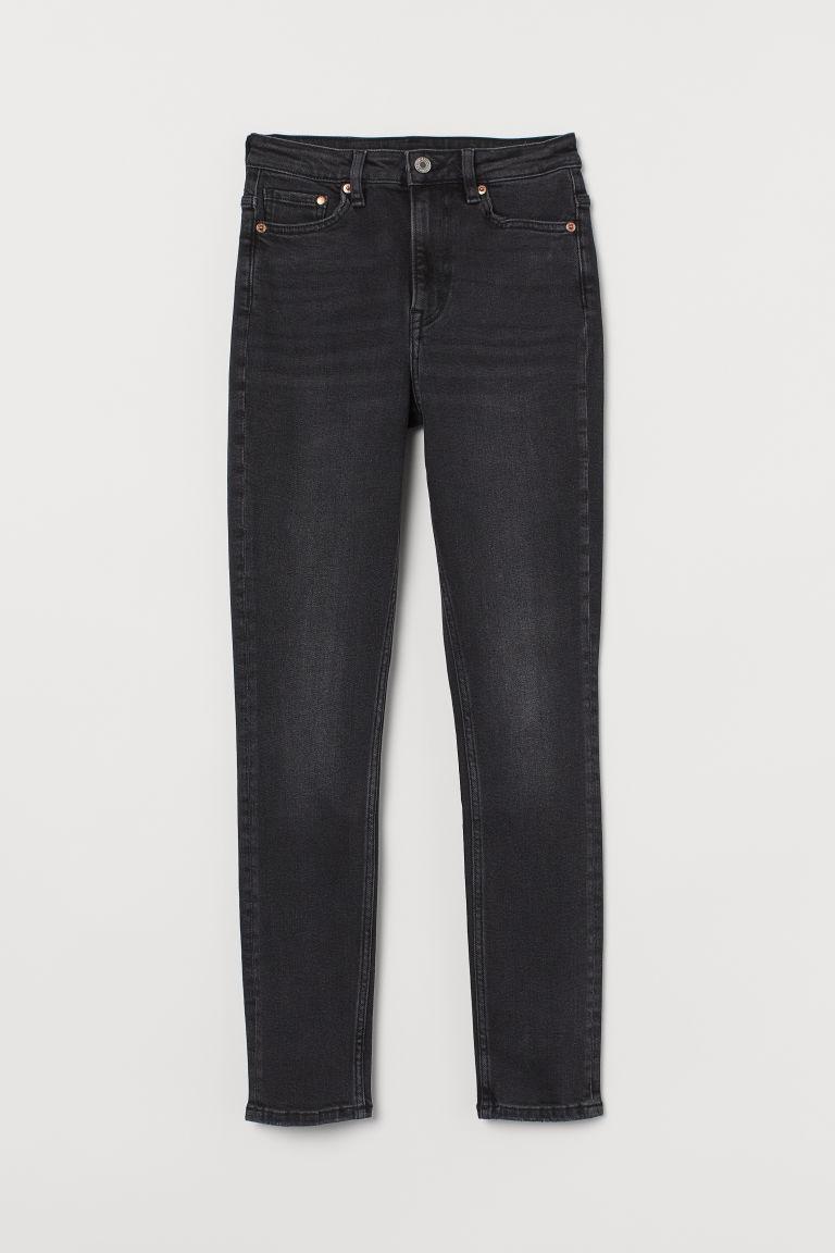 H & M - 復古窄管高腰牛仔褲 - 黑色