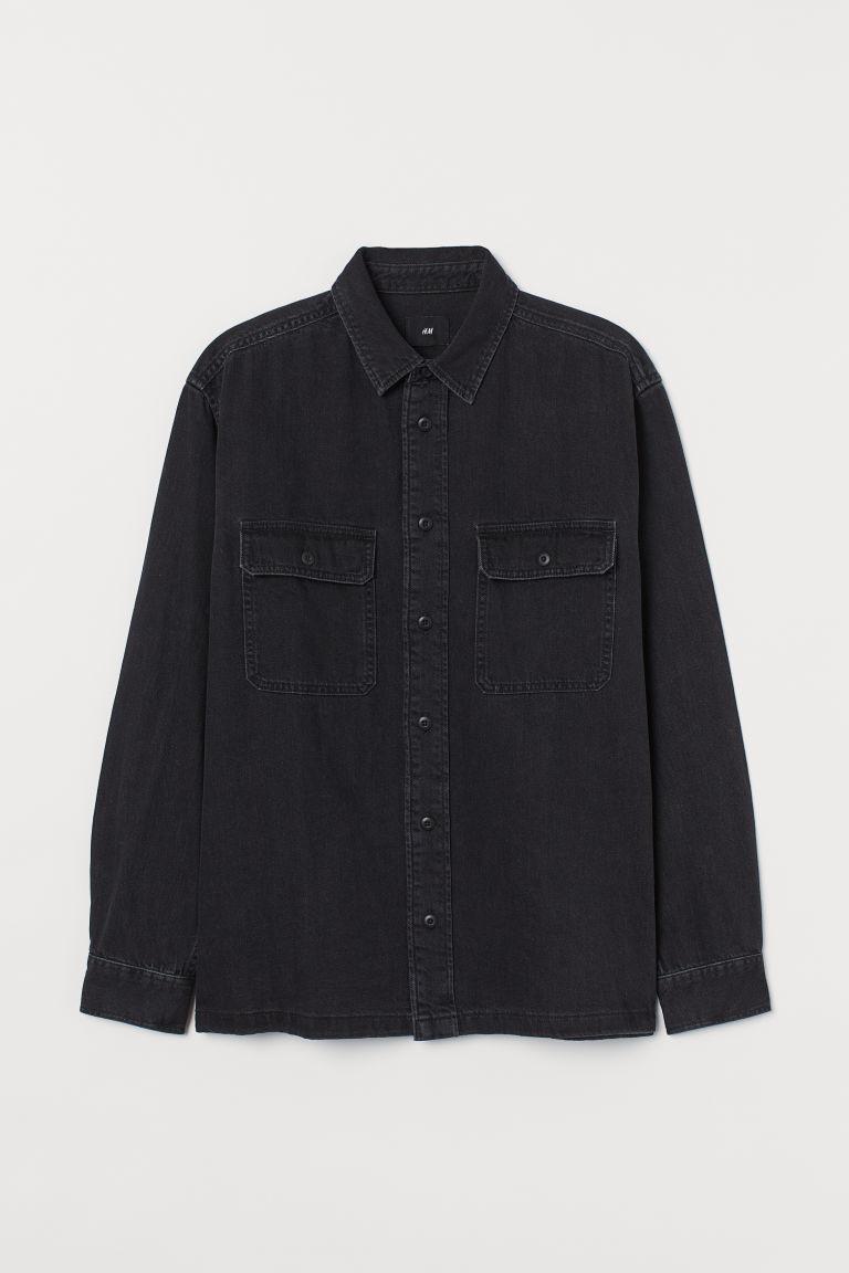 H & M - 丹寧襯衫式外套 - 黑色