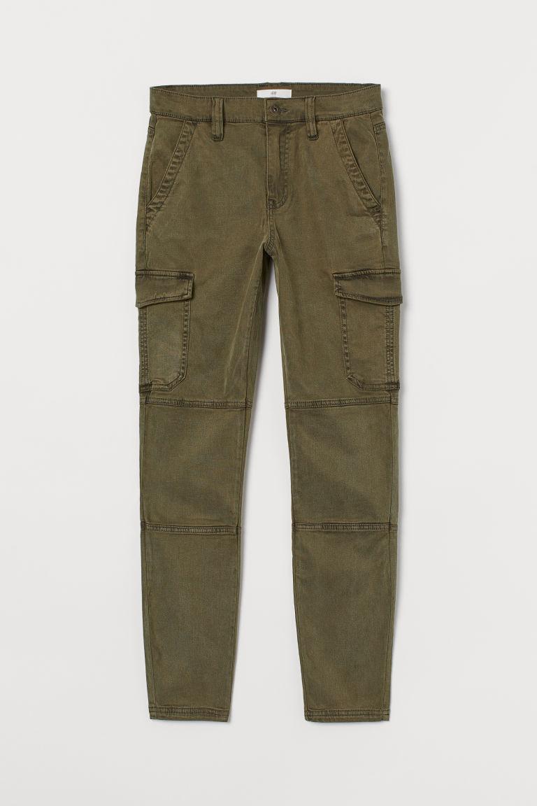 H & M - 貼身工作褲 - 綠色