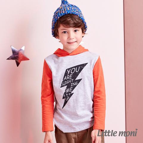 Little moni 閃電印花連帽上衣(麻花灰)