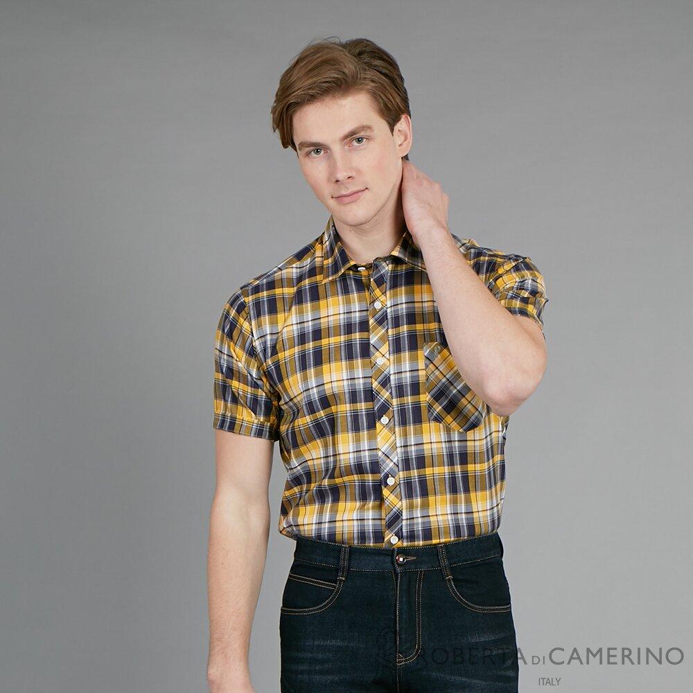 ROBERTA諾貝達 台灣製 進口素材 潮流格紋 帥氣合身純棉短袖襯衫 黃色