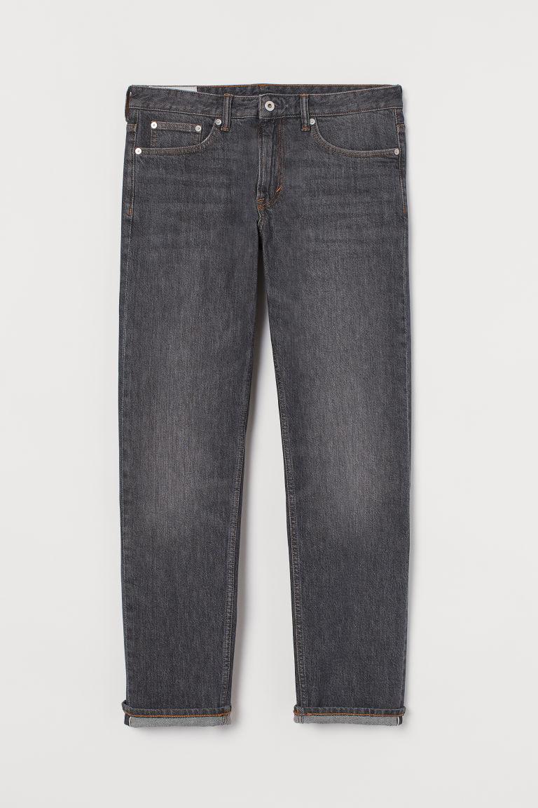 H & M - 中腰布邊牛仔褲 - 灰色