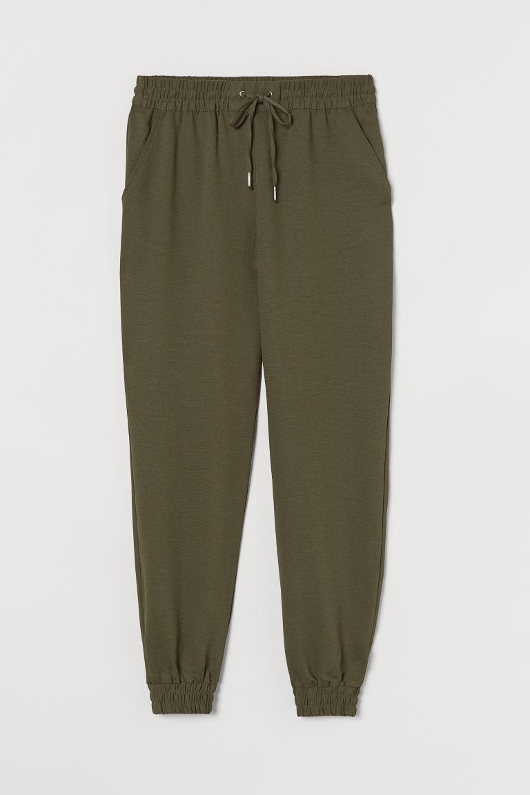 H & M - 鬆緊式長褲 - 綠色