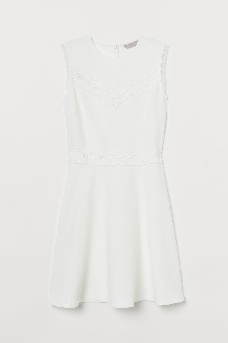 H & M - 蕾絲飾邊洋裝 - 白色