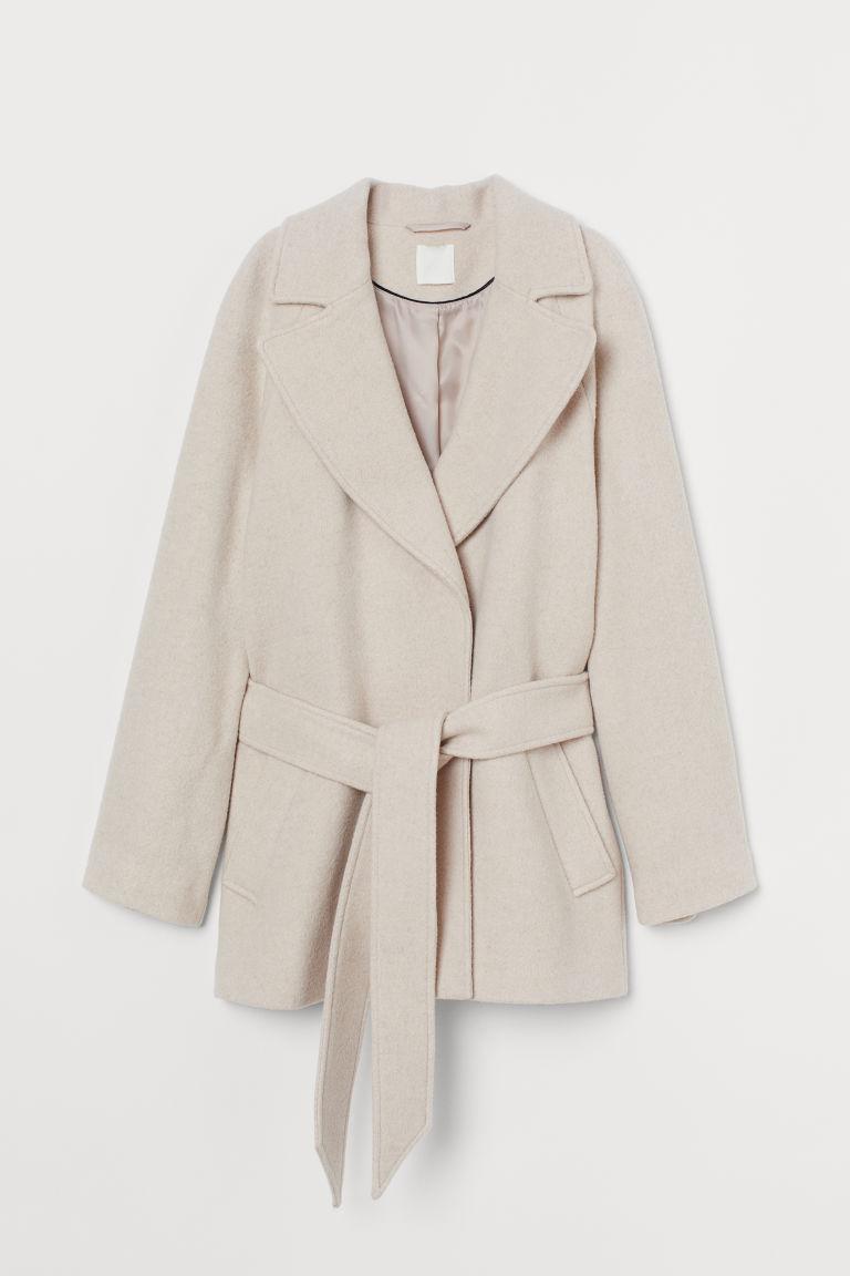 H & M - 羊毛混紡外套 - 米黃色