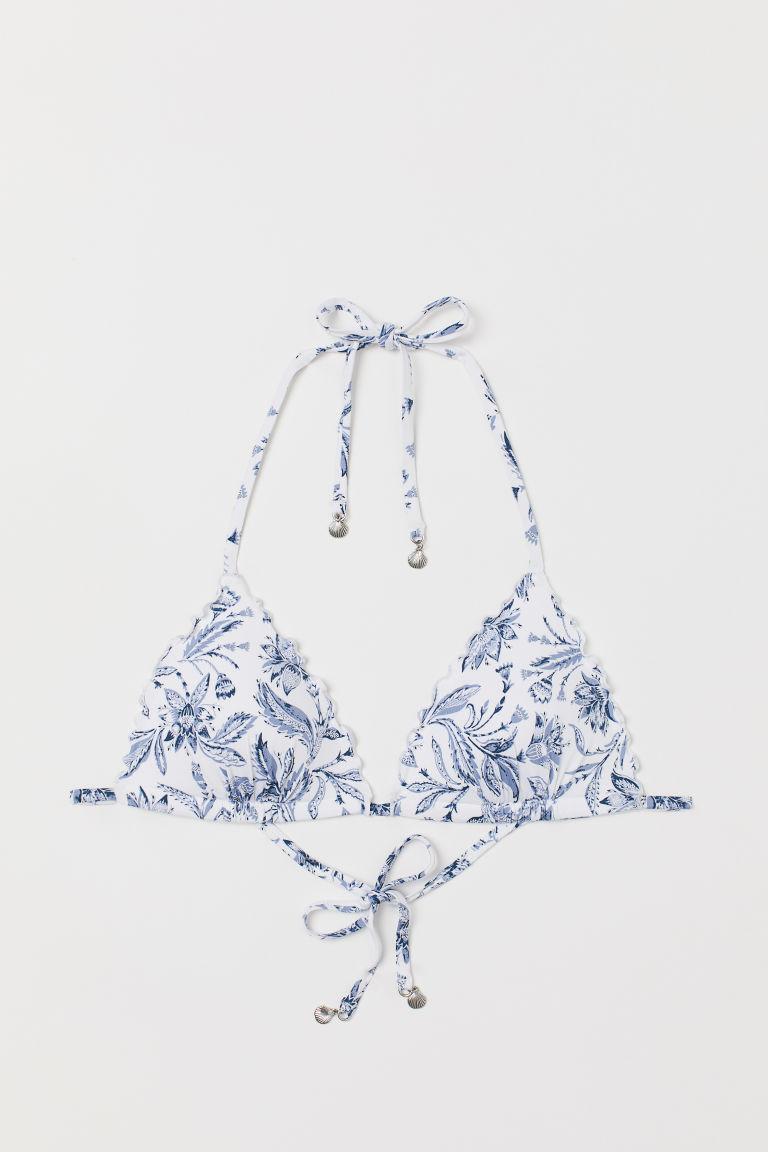 H & M - 托高式三角比基尼上衣 - 白色