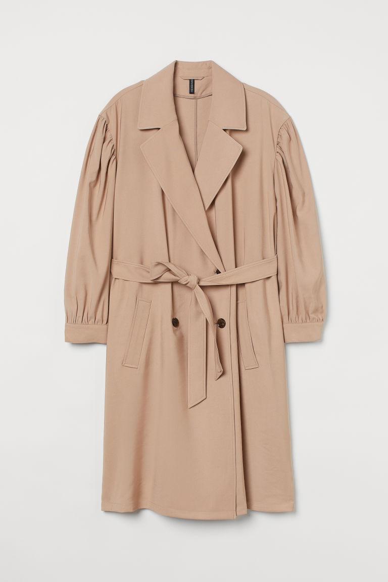 H & M - H & M+ 短版風衣 - 米黃色