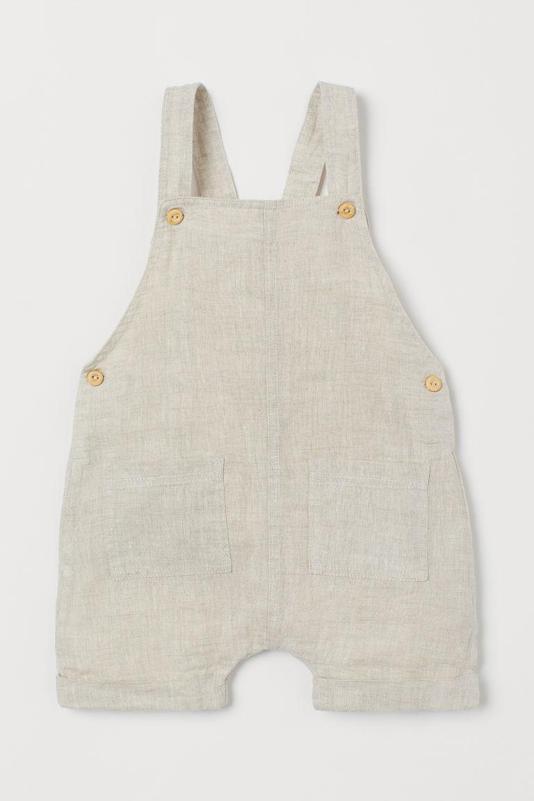 H & M - 亞麻吊帶短褲 - 米黃色