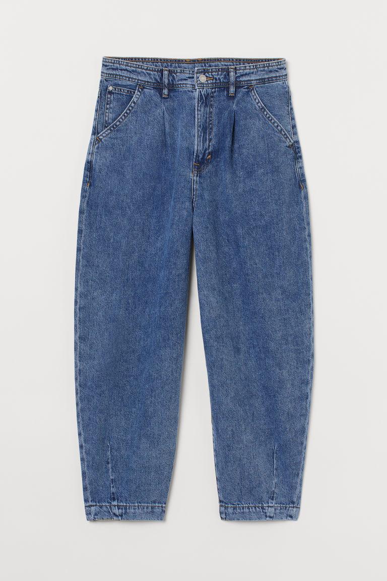 H & M - 球形超高腰九分牛仔褲 - 藍色