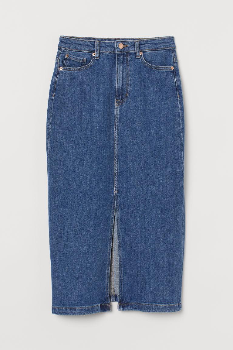 H & M - 丹寧鉛筆裙 - 藍色