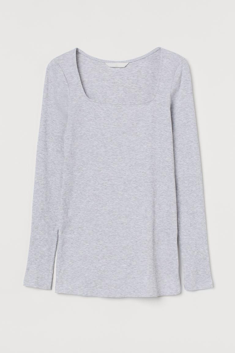 H & M - MAMA 羅紋棉質上衣 - 灰色