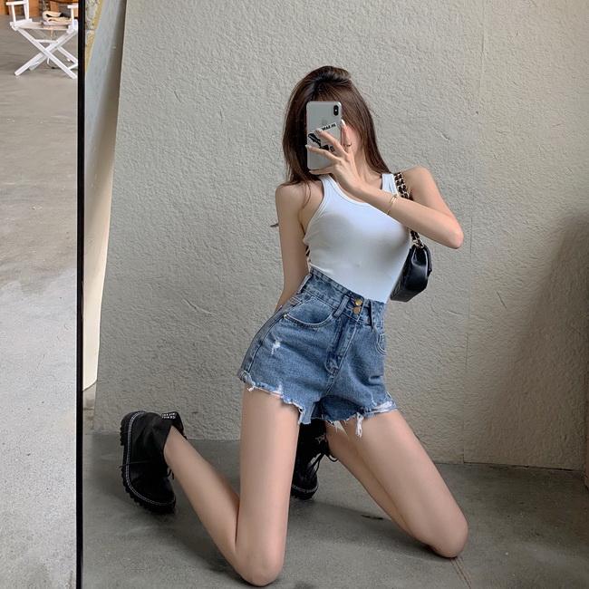 FOFU-高腰個性雜誌風設計款牛仔短褲時尚磨破顯瘦闊腿褲女潮【08SG05634】