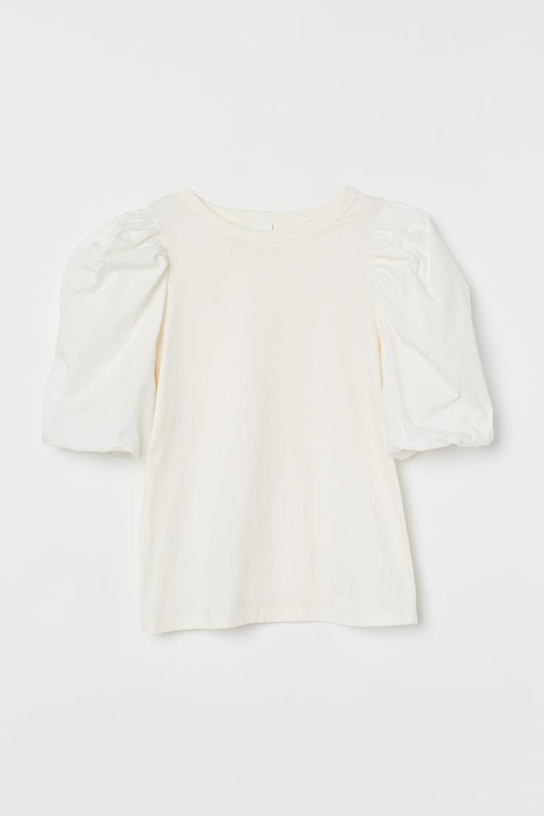 H & M - 燈籠袖上衣 - 白色