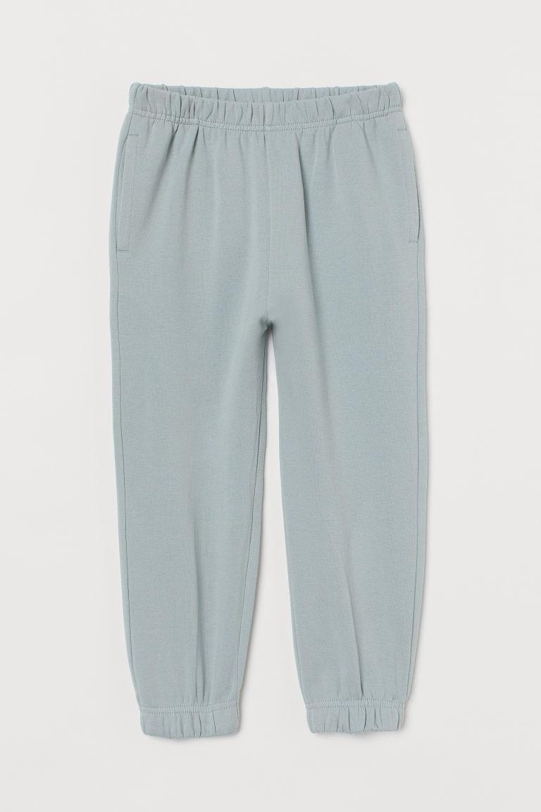 H & M - 棉質慢跑褲 - 藍綠色