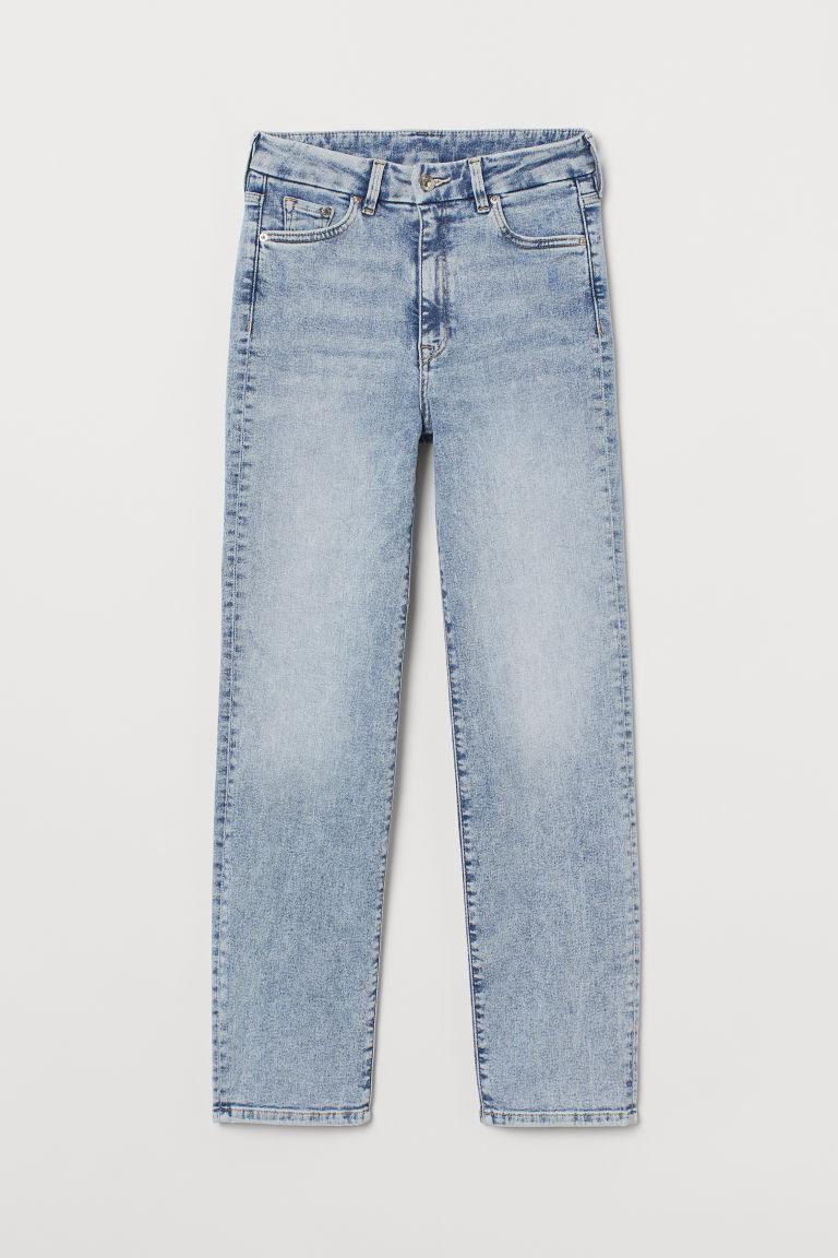 H & M - 服貼高腰貼身九分牛仔褲 - 藍色