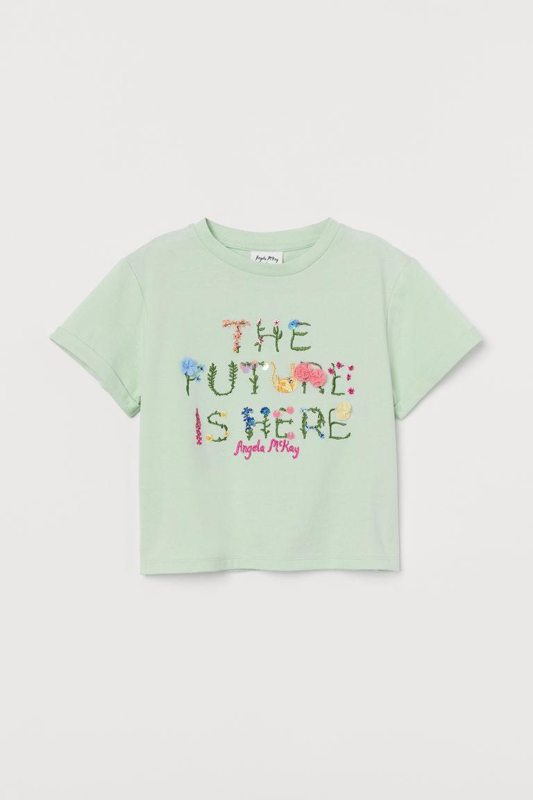 H & M - 圖案平紋上衣 - 綠色