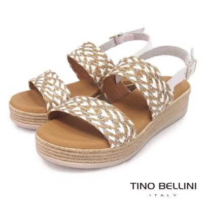 Tino Bellini 西班牙配色草編雙帶厚底涼鞋-白