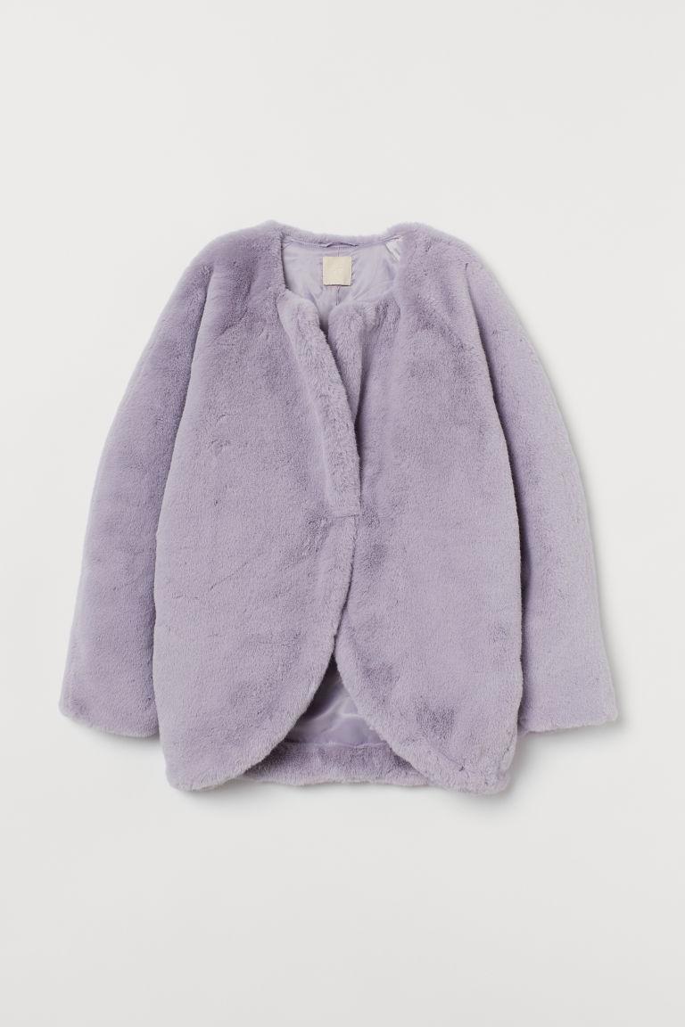 H & M - 仿皮草外套 - 紫色