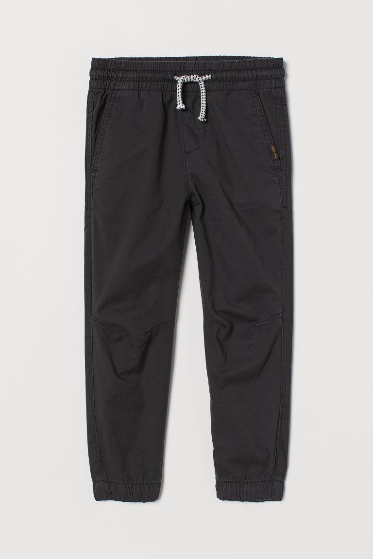 H & M - 斜紋鬆緊式長褲 - 黑色