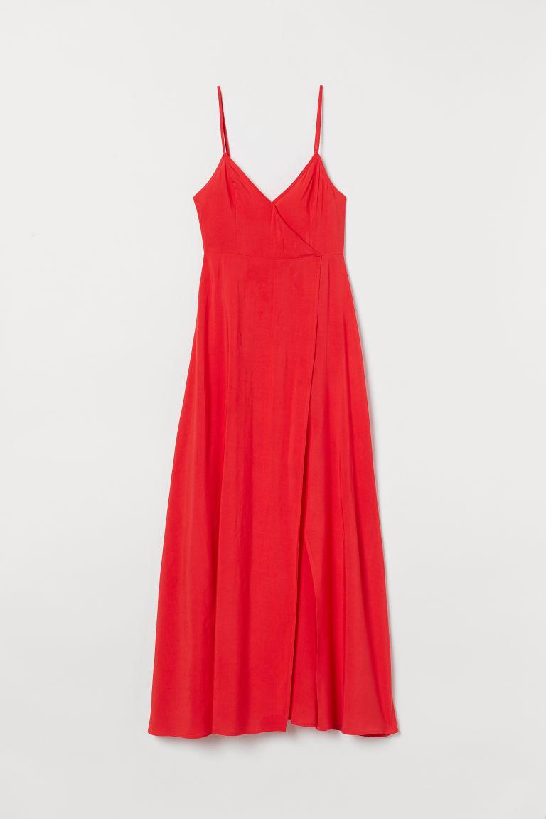 H & M - V領及地長洋裝 - 紅色