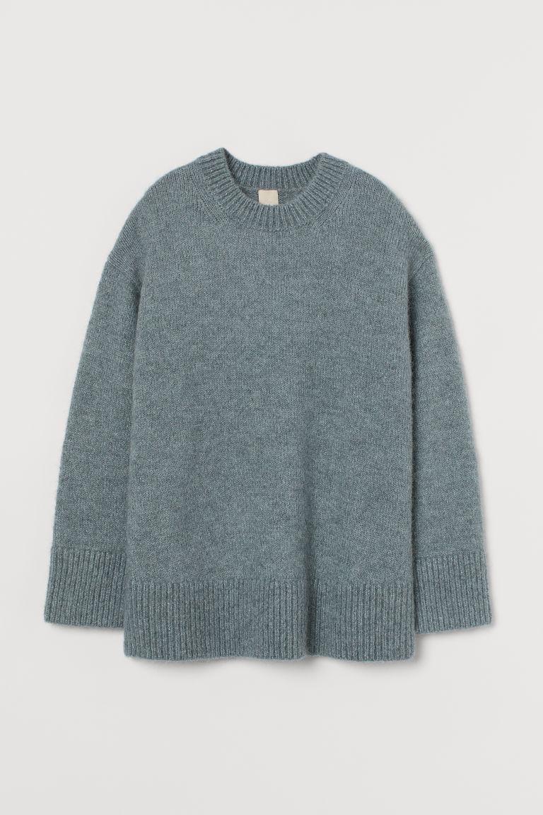 H & M - 羊毛混紡套衫 - 灰色