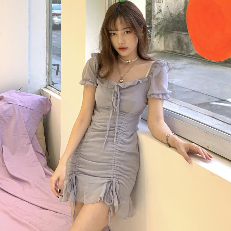 42369超仙復古雪紡短袖連衣裙小洋裝