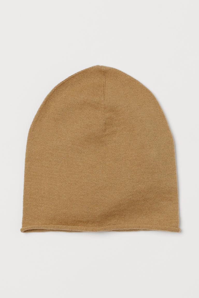 H & M - 真絲混紡帽 - 米黃色
