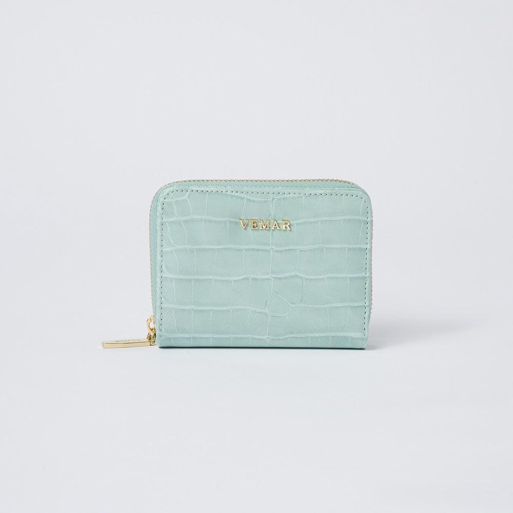 限時特價【VEMAR】氣質時尚拉鍊鱷魚紋短夾(寧靜綠)