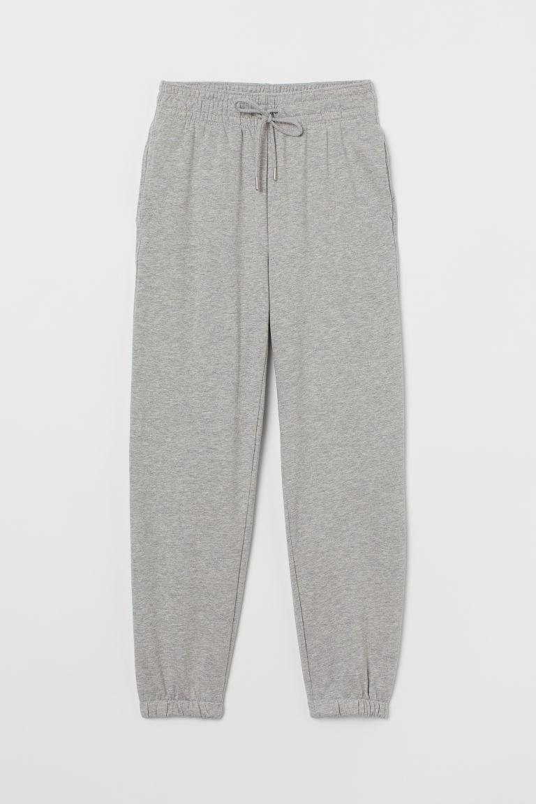 H & M - 棉質混紡運動長褲 - 灰色
