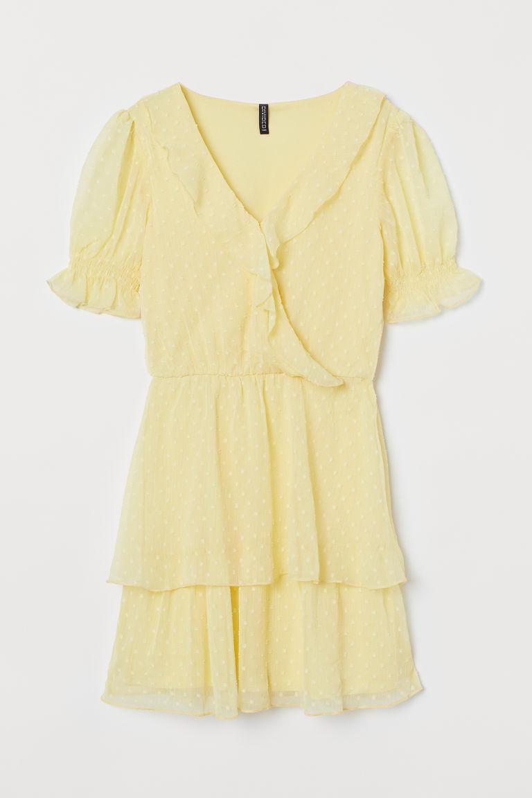 H & M - 公主袖荷葉邊洋裝 - 黃色