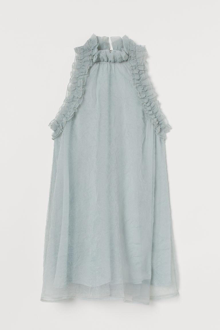 H & M - 荷葉邊A字洋裝 - 藍綠色