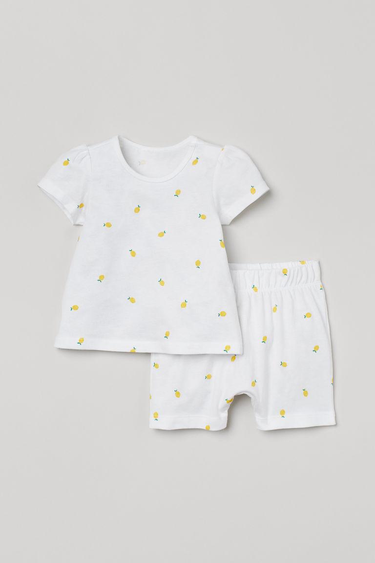H & M - 棉質睡衣套裝 - 白色