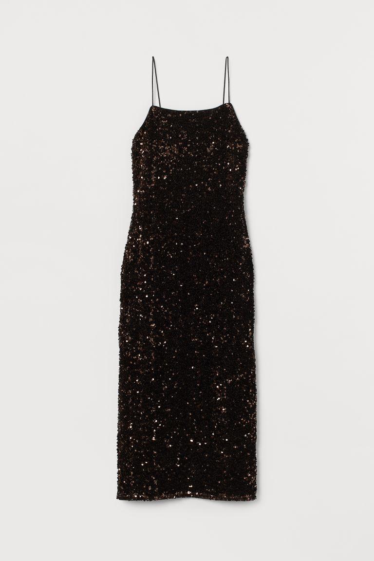H & M - 合身亮片洋裝 - 褐色