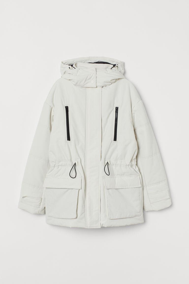 H & M - 連帽鋪棉外套 - 白色