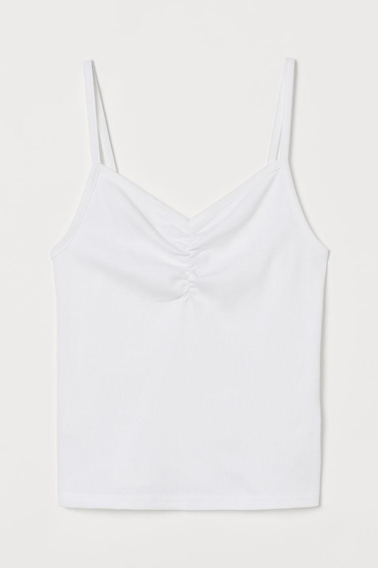 H & M - 羅紋細肩帶上衣 - 白色