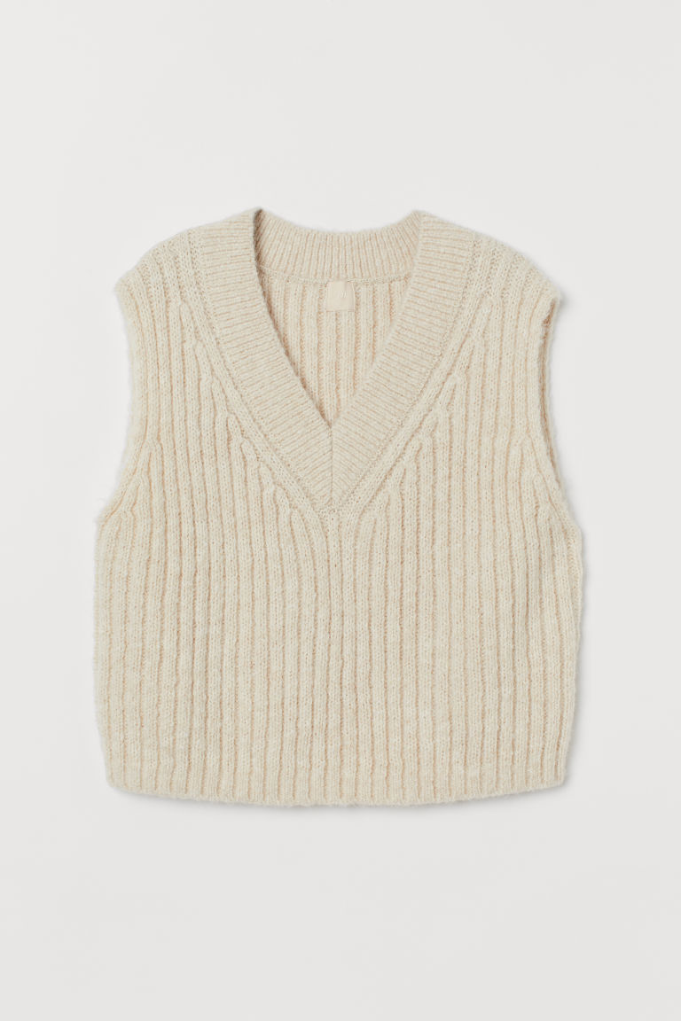 H & M - 羊毛混紡羅紋針織背心 - 白色