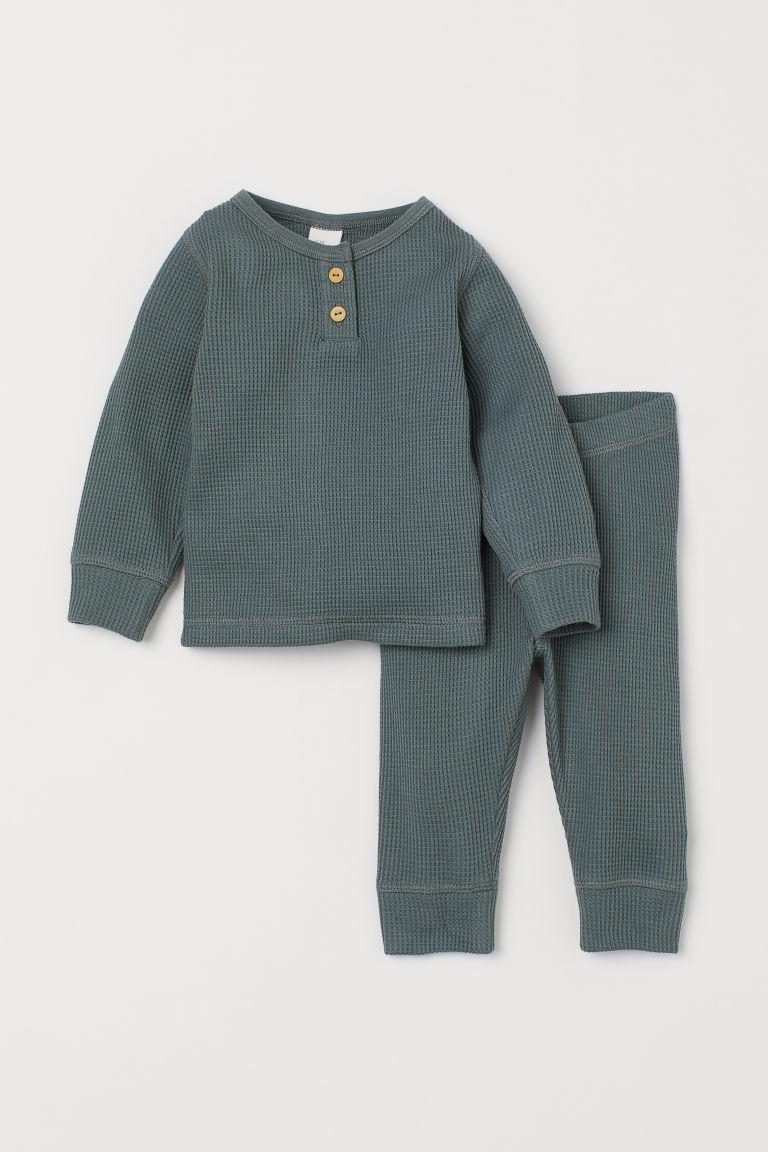 H & M - 2件組華夫格平紋套裝 - 綠色