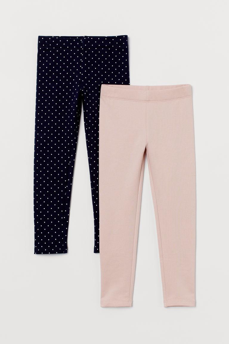 H & M - 2件入厚實平紋內搭褲 - 藍色
